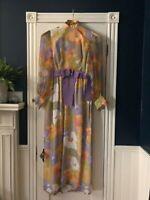 Vintage Lisa Meril 70s Dress Large Mod Hippie Sash Formal Floral Long Sleeve