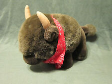 "Vintage Buffalo Bison Plush Brown 14"" Stuffed Animal Toy Red Bandana A & A"