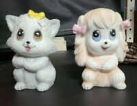 Lefton Vintage Night Light Puppy Dog 1783 & Kitty Cat pair set lot figurines