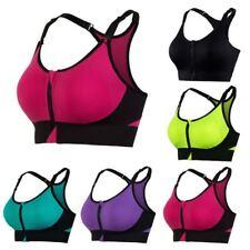 Women Sports Bra Fitness Front Zip Crop Top Vest Racerback Gym Padded Yoga Bras