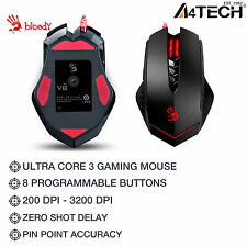 A4Tech Gaming Mouse Wired Multi-Core GUN3 V8M LED Optical 3200DPI COMPUTER PC