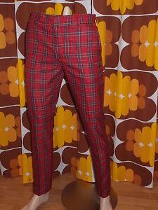 New Run & Fly mod 60s vintage beatnik style slim classic red tartan trousers