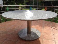 runder Terrassentisch Granit D=130cm Esstisch & Edelstahlgestell Säulentisch NEU