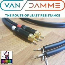 Van Damme - Silver Plated OFC Rean RCA to bare wires for turntables Black 1.25m