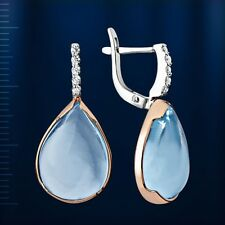 Russische Rose/weiss Gold 585 Ohrringe mit Topas Rose gold drop topaz earrings !