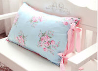 Shabby Chic Blue Pink Cotton Pillowcases Cute Ties Checked Sham Slip Cover