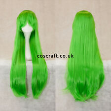 80 cm LONG STRAIGHT Cosplay Parrucca con Frangia in Verde Lime, UK Venditore, Alex