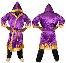 Boxing and martial arts boxing gown Purple with Gold Flames