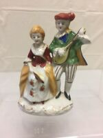 Vintage Porcelain Man Playing Lute & Woman Figurine Made In Occupied Japan