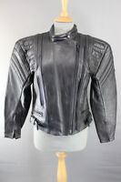 PROTO BLACK COWHIDE LEATHER BIKER JACKET WITH REMOVABLE BACK PROTECTOR SIZE 12