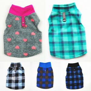 Pet Dog Winter Warm Fleece Clothes Sweater Plaid Heart Cat Puppy Vest Coat Shirt