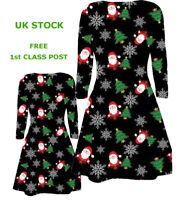 BABIES TODDLERS GIRLS MOTHER DAUGHTER CHRISTMAS SANTA TREE FLAKES XMAS DRESS