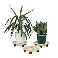 Relaxdays Porte Plantes À roulettes Support pour Pot de Fleurs en Boi Rond