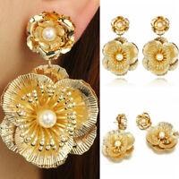 1 Pair Fashion Women Rose Flower Pearl Gold Plated Earring Ear Stud Jewelry