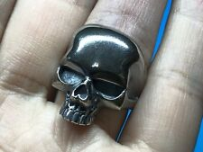Solid 925 Sterling Silver Mens Heavy Skull Ring Open Adjustable Size