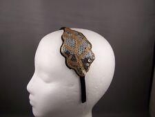 "Silver Gold sequin leaf satin thin skinny headband 3/8"" wide fascinator applique"