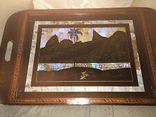 ART Deco Ali di Farfalla RIO DE JANEIRO in legno vassoio, Boschi a contrasto