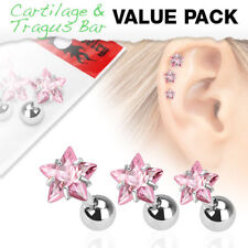 3 Pc Pink Star CZ Ear Cartilage Daith Tragus Helix Earrings Barbell Studs