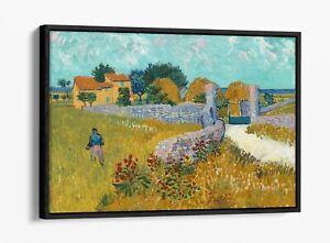 VAN GOGH FARMHOUSE IN PROVENCE -FLOAT EFFECT CANVAS WALL ART PIC PRINT- BLUE
