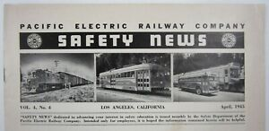 Red Cars Pacific Electric Railway Employee Safety Newsletter Los Angeles 1945