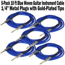 "5-Pack 10 ft Blue Woven Guitar Instrument Cable Cord Patch Gold Tip 1/4"" Plugs"