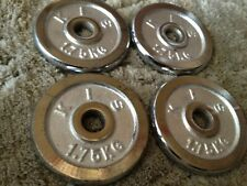 """4x 1.75KG 4lbs (1"""" Standard Stainless Steel CHROME) Weight Plates Plate Barbell"""