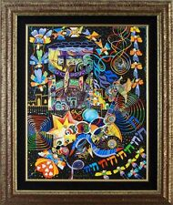 """Abecassis """"Chai To Life"""" Mixed media with paint 6 layer decoupage. Hand Signed"""