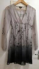 Phase Eight Floral Pewter Silk Dress Size S