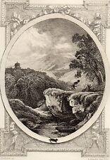 EAU FORTE / Fables de la Fontaine 1883 / LA MONTAGNE QUI ACCOUCHE