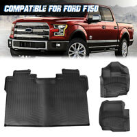 Floor Mats Liners Set For 15-20 Ford F-150 F150 SuperCrew Cab All Weather Black