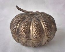 Antique Persian Silver Melon Form Covered Box, Rare