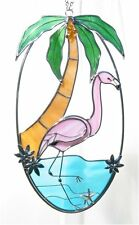 Stain Glass Palm Tree and Flamingo on a Oval Wire Ring
