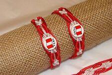 #2490 Peruvian Flag Clay Friendship Bracelet Woven 10 Pack Unisex Artisan Lot