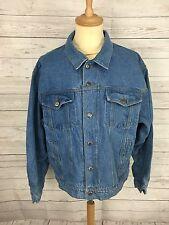Da Uomo Wrangler Retro Giacca di Jeans-Large-Blu Scuro Wash-ottime condizioni