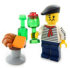 New Lego Parisian w/ Wine, Cheese & Croissant minifig food french artist table