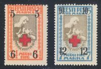 Estonia 1921 MNH Mi 29B-30B Sc B13-B14 Red Cross Nurse & Wounded Soldier **