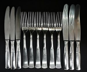 Set of Vintage 830 Silver Table Knives & Forks for 6 People - Hammered/Floral