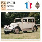 Renault PG2 Vivasix 6 Cyl. Vivastella 1928 France CAR VOITURE CARTE CARD FICHE