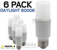 NEW 6 x MERCATOR 10W LED TUBULAR GLOBE E27 SCREW IN - DAYLIGHT 6000K PACK LAMP