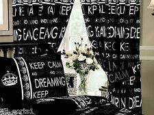 "Keep Calm NERO 66 ""X72"" Ready Made tende PIEGHETTATE A MATITA & corrispondenza ferma tende"