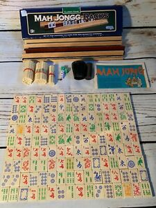 Vintage Mahjong Set Mah Jong Wooden Pieces complete with Boxed Racks