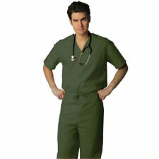 Olive Scrub Set XL V Neck Top Drawstring Pants Unisex Medical Uniforms 2 PC New