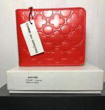 NIB COMME DES GARÇONS Red Orange Clover Cardholder Zip Wallet NEW Box
