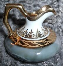 Vintage Limoges Miniature Pitcher Green & Gold Marbleized Pattern Made In France
