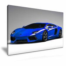 Blue Lamborghini  Super Car Canvas  Wall Art  20x30 INCHES