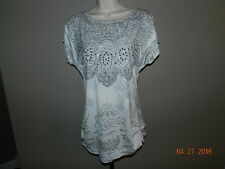 Studio Y Bling Gray White KNIT TOP XS Scoop neck draping ruched cap sleeve