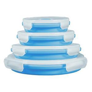 4er-Set Silikon-Frischhaltedosen faltbar Aufbewahrungsboxen Vorratsbehälter Blau