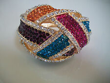 Elegant Fashion Gold Finish Multi Crystal Hip Hop Bling Lady's Bangle Bracelet