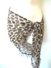 New Ladies Designer Pia Rossini Leopard Print Chiffon Beaded Sarong Brown/Cream
