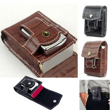 Leather Cigarette Case Box Tobacco Holder Container with lighter Match Pocket